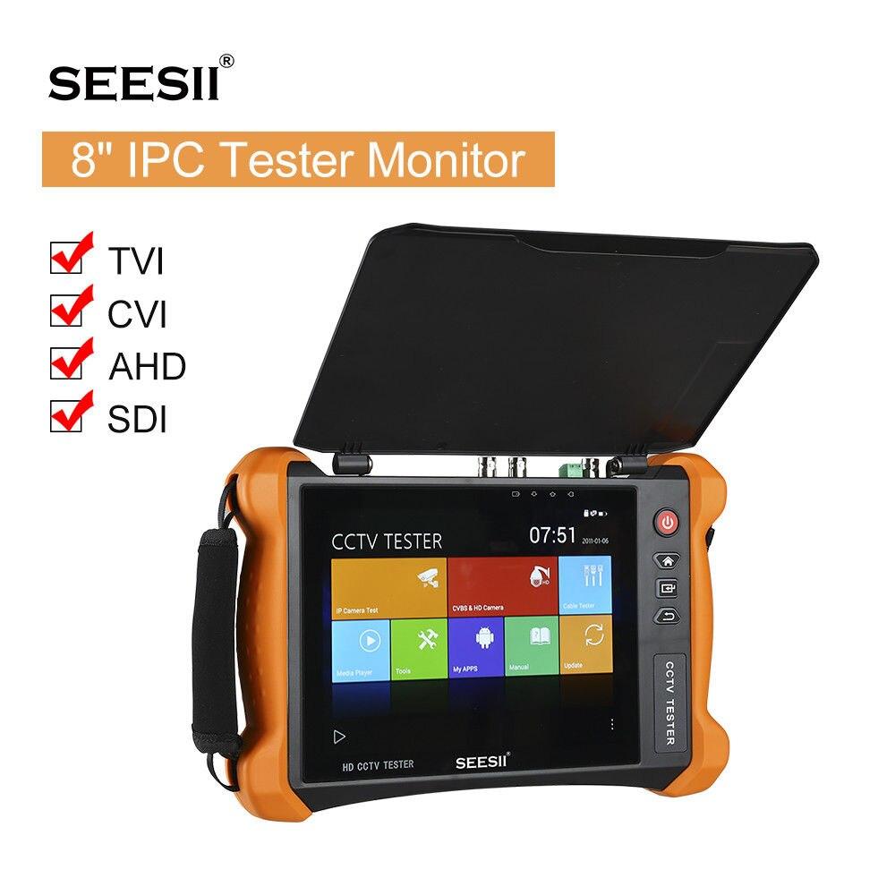 SEESII 8 Testeur Moniteur IP Caméra de Sécurité 4in1 CVI TVI AHD SDI PTZ Contrôle PoE H.265 Buit-dans WiFi