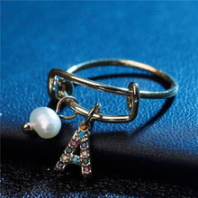 Alphabet Initial Name Ring Wedding Rings For Women Simple Gold Silver A-Z Letter Female Party Pearl Jewelry Gift Size8