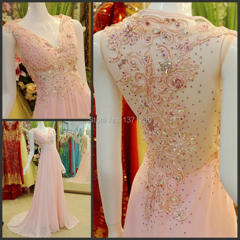 Real Photo V-Neck Chiffon A-Line Evening Dresses With Beading Crystal Off The Shoulder Long Prom Dresses 2015