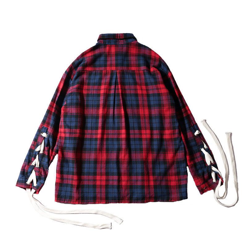 2017 Autumn And Winter New Fashion Trend Youth Style Small Fresh Hit Color Tide Couple Lovers Plaid Loose Long-sleeved Shirt