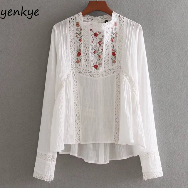 d4d5cf346b8 Fashion Women Sweet Floral Embroidery Blouse Stand Collar Long Sleeve  Pullover White Shirt Brand Summer Tops BBWM8097