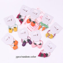 Children's Cartoon Vegetable Fruit Hair Accessories Baby Girls Sweet Korean Style Elastic Hair Bands Hair Rings Ponytail Holder(China)