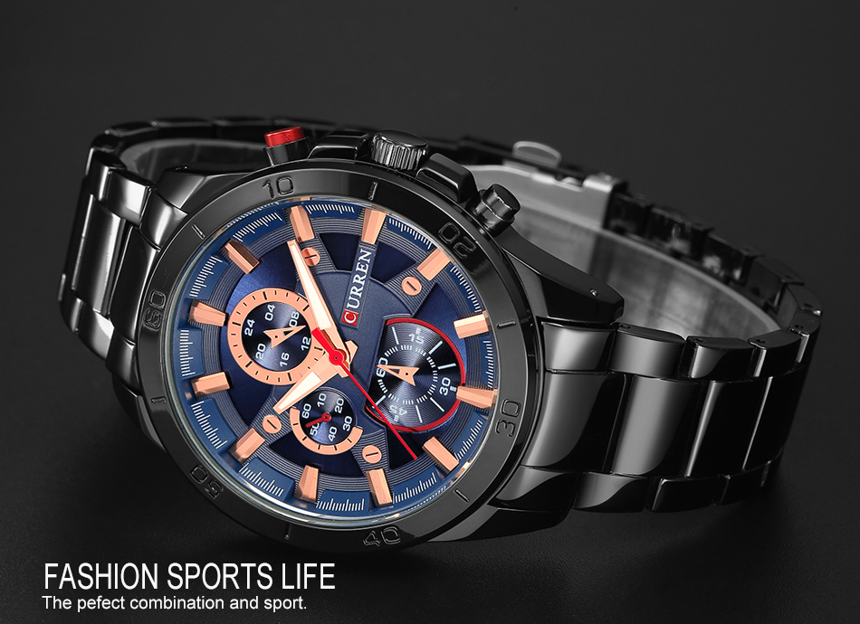 CURREN Luxury Brand Men Watch Fashion Analog Sports Wristwatches Casual Quartz Full Steel Band Male Clock Relogio Masculino
