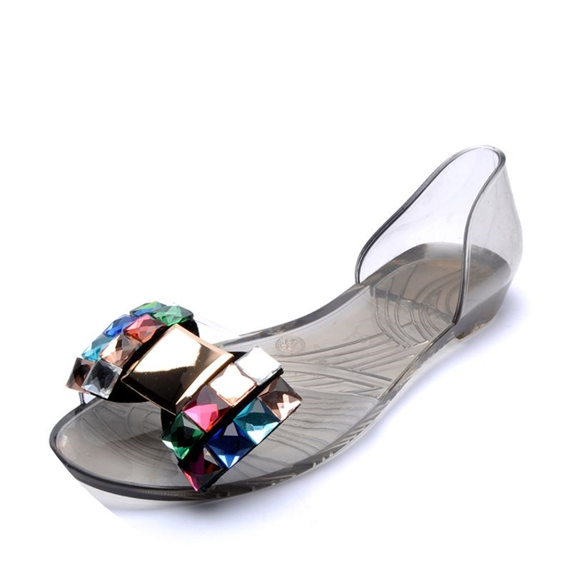 2018 Summer Sandals Women Casual Bowtie Shoes Fashion Jelly Shoes Transparent PVC Flat Shoes Woman Sandals mujer 1h03 sweet women high quality bowtie pointed toe flock flat shoes women casual summer ladies slip on casual zapatos mujer bt123