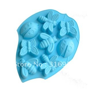 D3 Insect mold silicone cake mold beetle bee butterfly Dragonfly , cake bakeware, 2pcs/lot