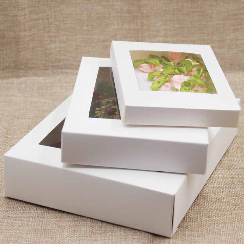 5pcs Per Lot Multi Size Window Package Box Paper Gift Display Box With Clear Pvc Window For Party/wedding/candy Favor Package
