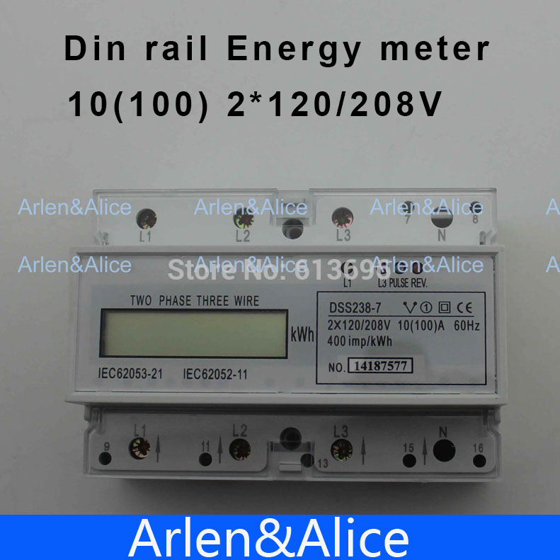 ФОТО 10(100)A 2*120V/208V 60HZ  two phase three wire Din rail KWH Watt hour din-rail energy meter LCD display