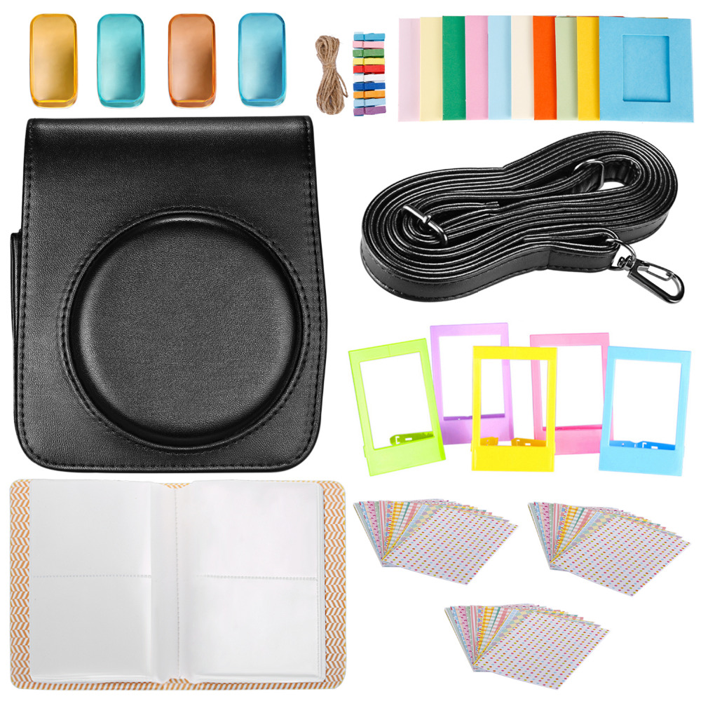 Neewer 25-in-1 Accessory Kit for Fujifilm Instax Mini 70: 1 Black Camera Case/1 Blue Album/4 Colored Filter/5 Film Table Frame