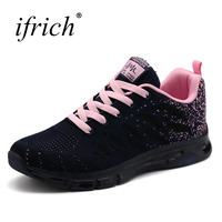 חדשות נשים ספורט נעלי הליכה סניקרס ספורט נשים נושמות נעליים הוורודה סגול תחרה עד גבירותיי ראנר סניקרס