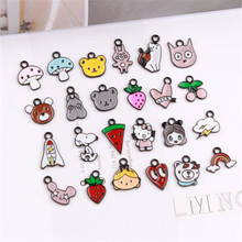 100PCs Kawaii Enamel Animal Bear Cat Dog Pendant Charms Mushroom Cherry Strawberry Rainbow Heart Watermelon Cloud Kawaii Charm