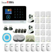 SmartYIBA Wireless GSM WIFI Portable Auto Dial Home Alarm System With Video IP Camera Smoke Fire Detector Glass Break Sensor APP