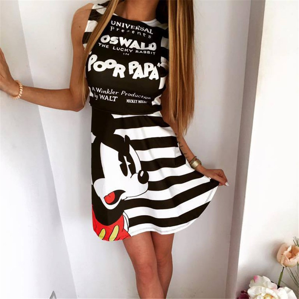 Cosplay  Mouse Print Dress Costumes Summer Adult Women Black and White Striped Sleeveless Tutu dress