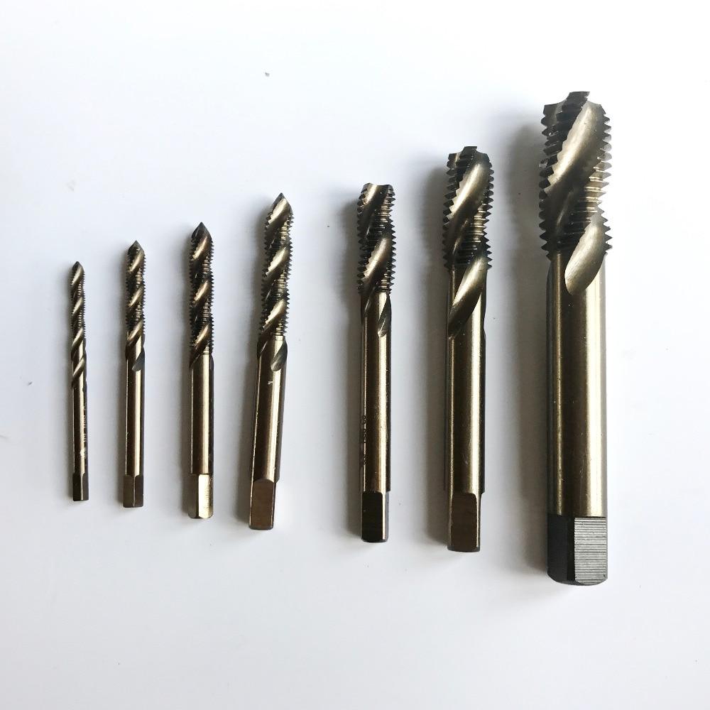HSS M35 Co5% viso CNC šlifuota 8 vnt. Spiralė Mašina speciali nerūdijančio plieno sraigtiniams čiaupams HSS M3 M4 M5 M6 M8 M9 M10 M12