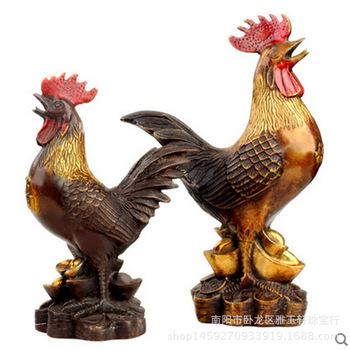 Painted Pure Copper Cock Ornaments Size Feng Shui Ornaments Zodiac Money Chicken Home Decoration Copper Chicken Metal Crafts