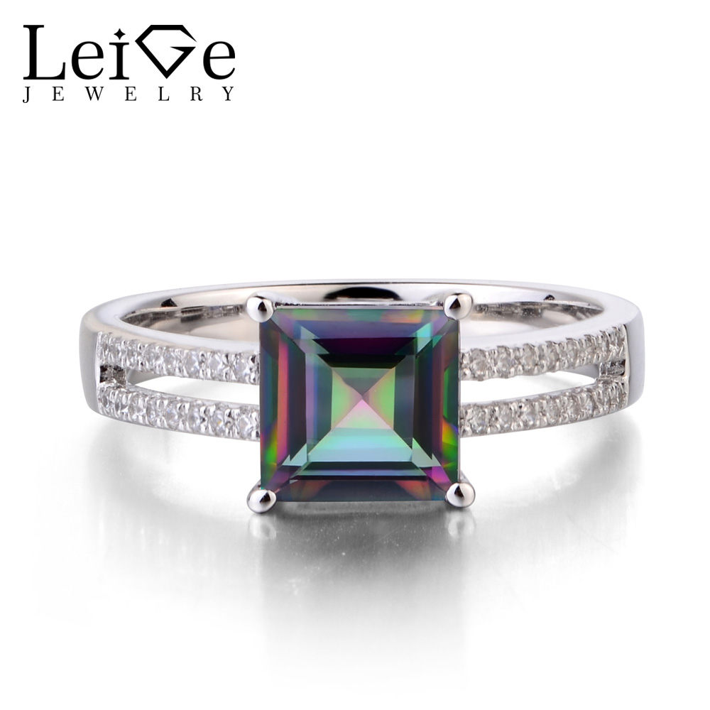Leige Jewelry Mystic Topaz Solid 925 Sterling Silver Ring Princess Cut Rainbow Gemstone Wedding Engagement Rings for WomenLeige Jewelry Mystic Topaz Solid 925 Sterling Silver Ring Princess Cut Rainbow Gemstone Wedding Engagement Rings for Women