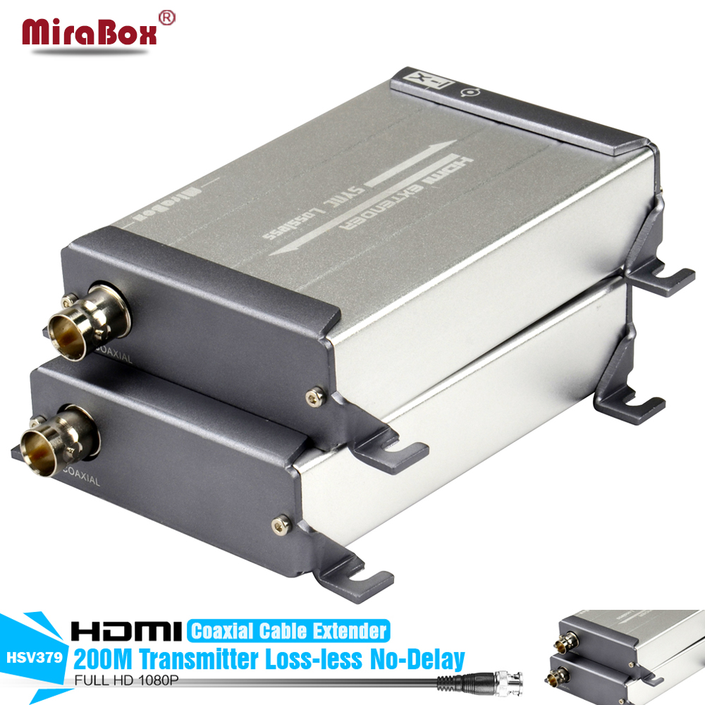 HDMI Extender 1080P 200m LossLESS No-Delay HDMI Over Single RG59/RG-6U Coax Cable Extender For DVR, DVD, Home Theater hsv379 hdmi extender over coaxial cable with no latency time and video lossless hdmi coax transmitter and receiver by rg59 6u