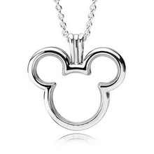цена Large 100% Real 925 Sterling Silver Micky Floating Locket Charm Fit Original Pandora Necklace for Women Fine Jewelry Party Gift онлайн в 2017 году
