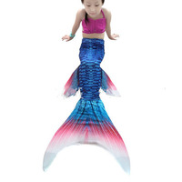 Blue Mermaid Tail With Flipper Children Animal Cosplay Clothing Halloween Girls Mermaid Tails For Swimming
