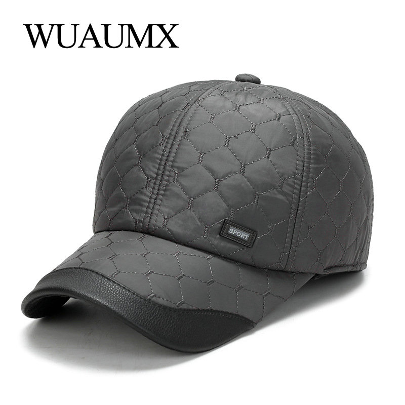 1c2dcbf3f39 Wuaumx Autumn Winter Baseball Cap For Men With Ear flaps Cotton Warm Thick  Bone Snapback Cap Men Vintage Dad Hat Casquette homme-in Baseball Caps from  Men s ...