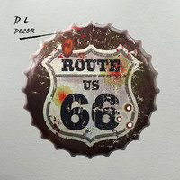 DL USA ROUTE 66 Road Bottle Cap Mural Painting Gift Metal Plaque Bar Party Retro Tin Sign dormitory Decor