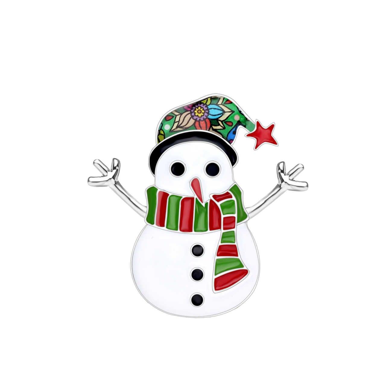 Bonsny Enamel Alloy Kartun Natal Manusia Salju Bros Pakaian Syal Dekorasi Pin Perhiasan Hadiah untuk Wanita Wanita Remaja Bijoux