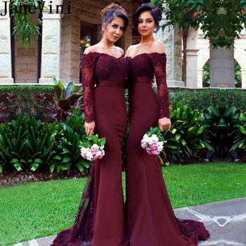 JaneVini Sexy Mermaid Burgundy Bridesmaid Dress Long Sleeve Satin Wedding Guest Dress Beaded Lace Ladies Prom Formal Gowns 2019