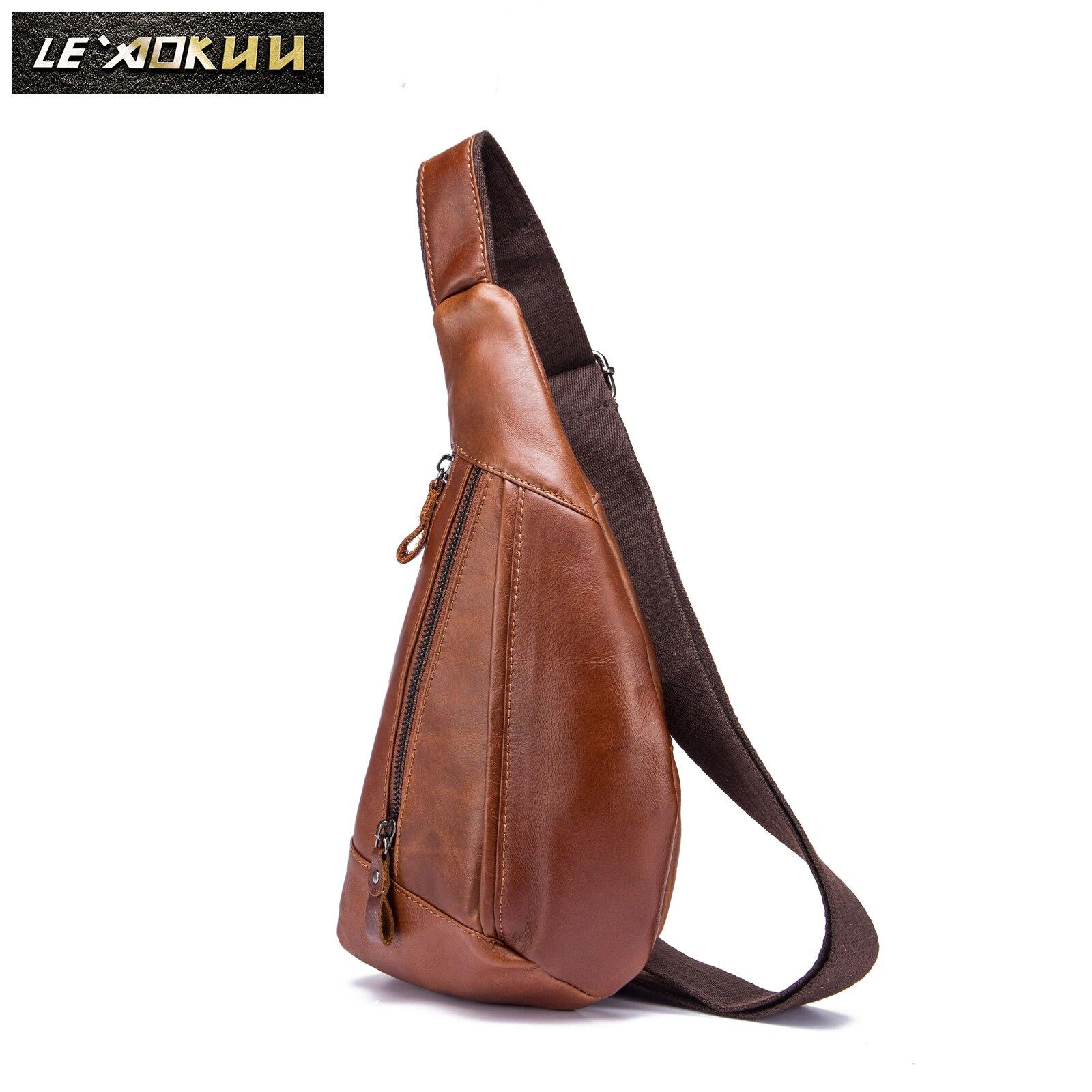 Quality Mens Original Leather Fashion Tringle Chest Pack Bag Design Male Sling Crossbody One Shoulder Bag Backpack Daypack 8807