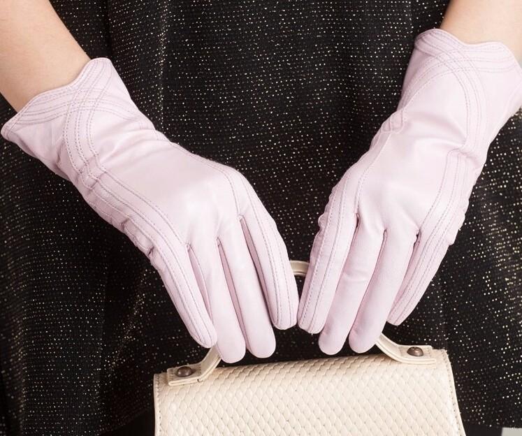 High Quality Women Genuine Sheepskin Winter Women Leather Gloves Lady knitting lined Warm Winter Mittens women gloves 34