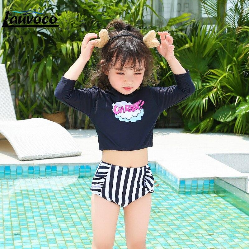 Bikini Kids Swimwear Two Piece Swimsuit Long Sleeve Bathing Suit Striped Thong Beachwear Big Size Children
