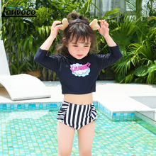 цена Bikini Kids Swimwear Two Piece Swimsuit Long Sleeve Bathing Suit Striped Thong Beachwear Big Size Children Bodysuit Girls Swim онлайн в 2017 году