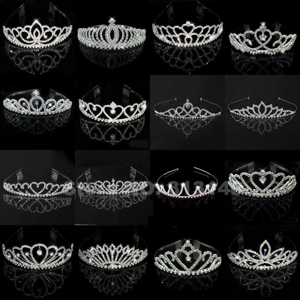 Wholesale Bridal Wedding Crystal Rhinestone Crown Heart Crown Pageant Silver Plated Women Children Tiaras Hair Comb Headband men beaded bracelet red