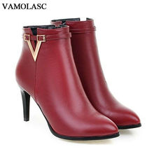 VAMOLASC New Women Autumn Winter Leather Ankle Boots Pointed Toe Zipper Thin High Heel Boots Sexy Women Shoes Plus Size 34-43