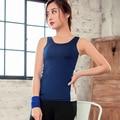 Sportswear menina Colete de Verão Tanque Das Mulheres Tops Com Acolchoado Aptidão Secagem rápida Sem Mangas Colete Y25098