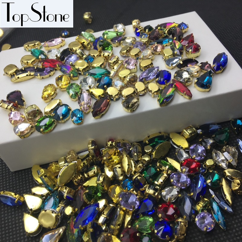 100pcs Mix Colors Sizes Shapes Sew On Stones Sewing Glass Crystal Beads With Gold-claw Setting For Jewelry,dress Decoration Novel (In) Design;