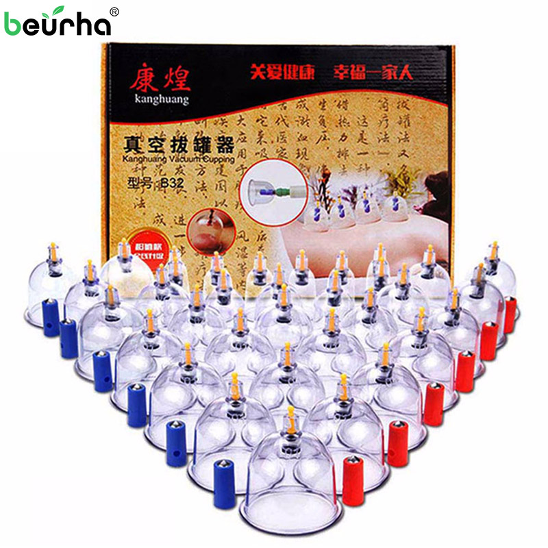 32 Cup cupping apparatus vacuum cupping therapy medical vacuum cupping suction cups massager massage jar cans for facial massage