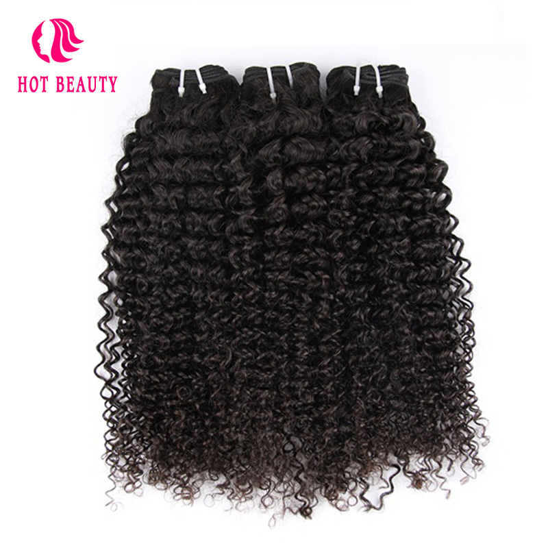 Vroče lepotne lase Afro Kinky kodrasti brazilski Remy podaljški za - Človeški lasje (za črne) - Fotografija 4