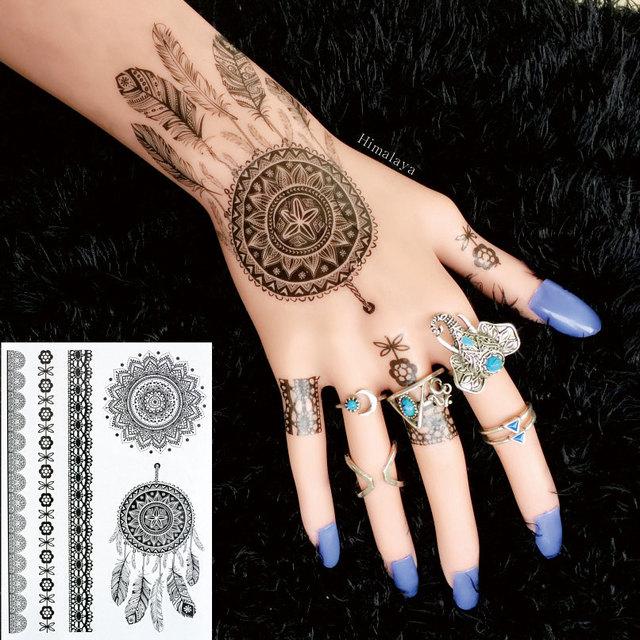 5f539d3b42ae1 #BH-7 1 piece Dream Catcher Black Henna Tattoos Temporary Inspired Body  Tattoos Stickers