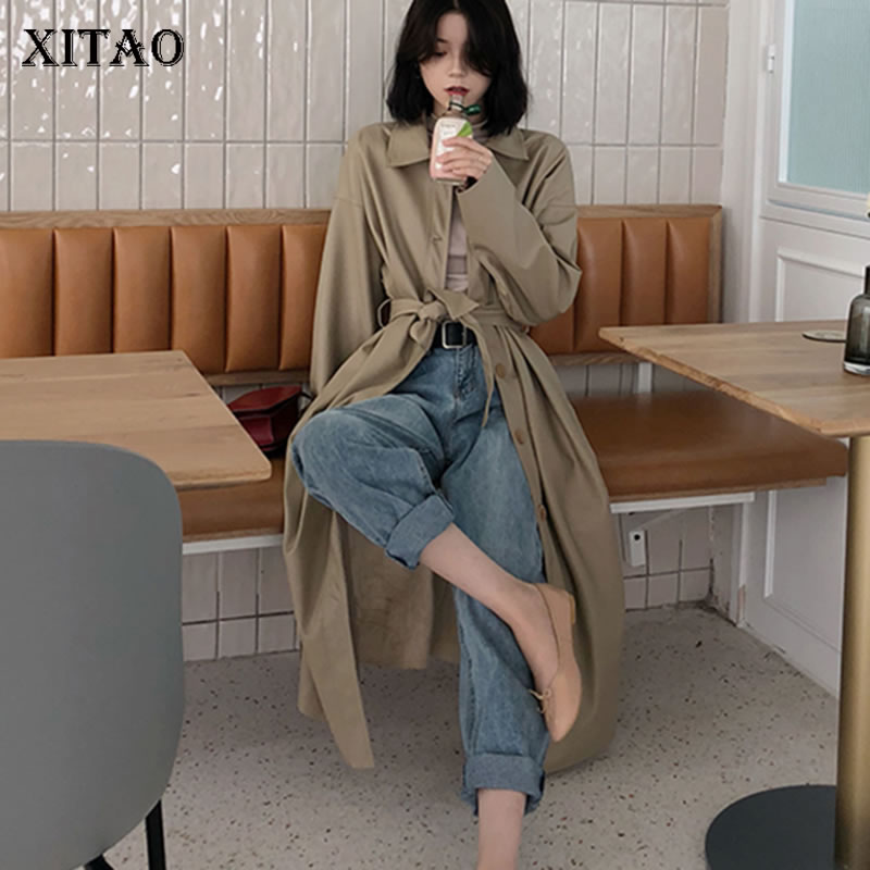 [XITAO] Single Breasted Female Korea Fashion Coat 2019 Spring Full Sleeve Turn-down Collar Solid Color Bandage   Trench   DLL2712