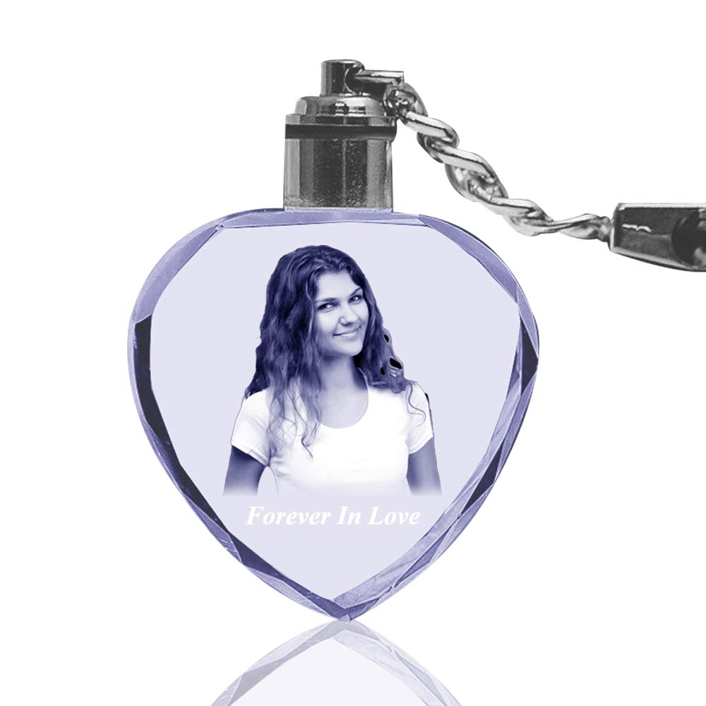 3D Laser Engraved Crystal Photo Keychain Personalized Custom Heart Shaped Glass Hanging Key Rings Pendant Gifts