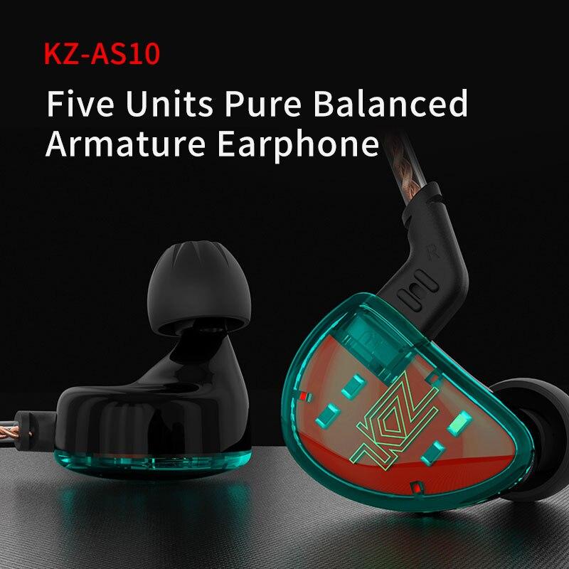 KZ AS10 auriculares 5 equilibrio armadura conductor la oreja de alta fidelidad bajo monitor música auricular general ZS10 ZST BA10 ES4 envío gratis - 3