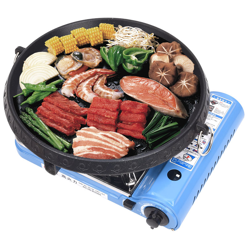 купить Roaster Korean Barbecue Cooker Grill Non-stick Gas BBQ Griddle Plate 32cm Diameter Plate Portable Meat Roaster Machine Outdoor по цене 8002.98 рублей