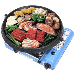 Roaster Korean Barbecue Cooker Grill Non-stick Gas BBQ Griddle Plate 32cm Diameter Plate Portable Meat Roaster Machine Outdoor
