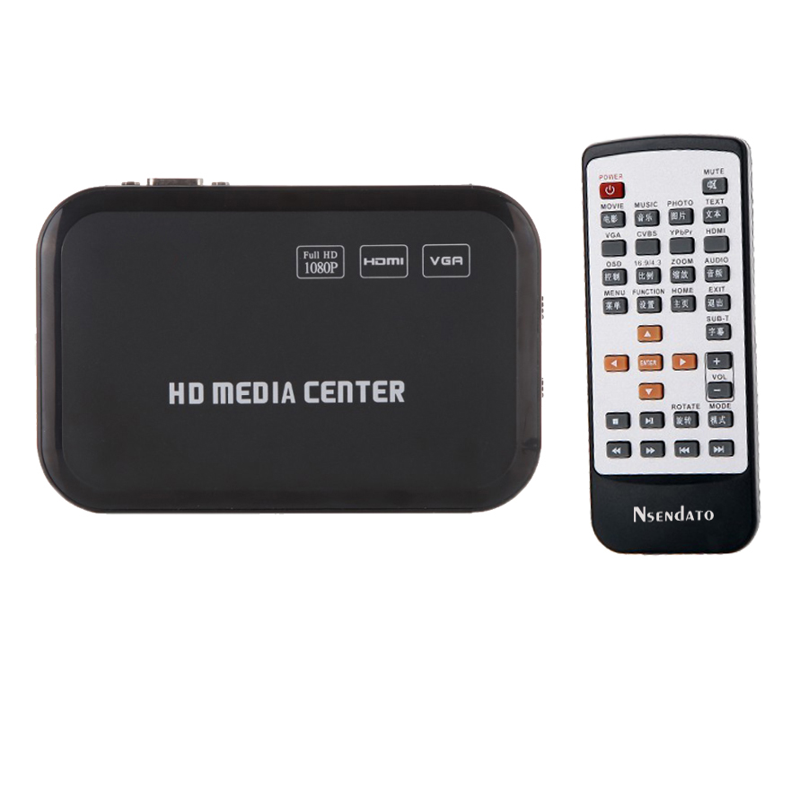 1080P HD Media Player video Surpport mkv H.264 cu VGA HDMI USB Port AV MMC / SD cu telecomandă