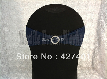 Hot Sale Navy Blue Spandex Bands / Lycra Band /Chair Covers Sash With Round Buckle For Wedding & Banquet