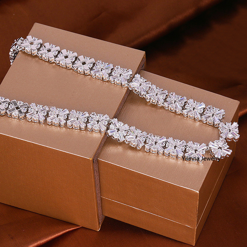 все цены на N200884 New Luxurious elegant white zircon crystal necklace Zinc Alloy silver color with Austria crystal fashion women jewelry