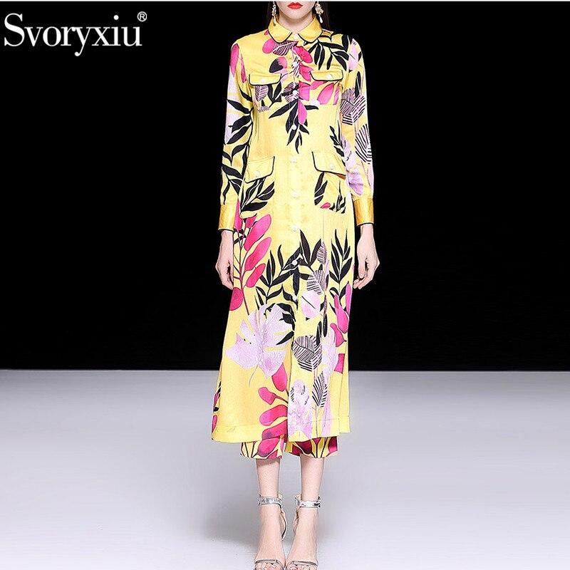 Svoryxiu ฤดูใบไม้ผลิฤดูร้อนรันเวย์หรูหรา 2 ชิ้นชุดสตรี X   ยาวชุดเสื้อ + กางเกงพิมพ์ลายดอกไม้สีเหลือง vintage กางเกงชุด-ใน ชุดสตรี จาก เสื้อผ้าสตรี บน   1