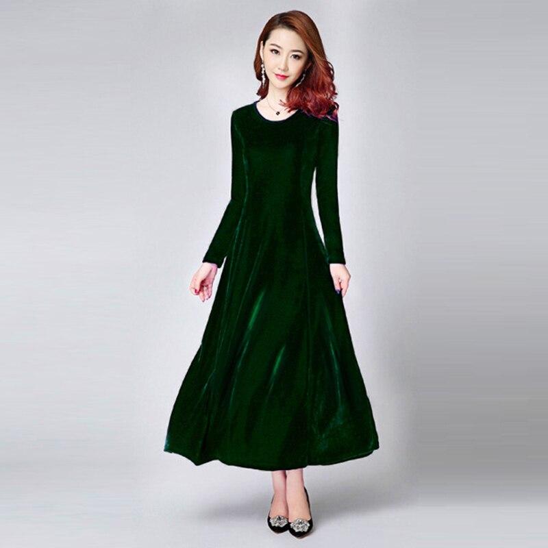 7930c6e0a65 Осень-зима бархатные платья Для женщин Повседневное o-образным вырезом  Pleuche длинное платье и Street Wear дамы Винтаж теплые Высокая Талия  деловая.