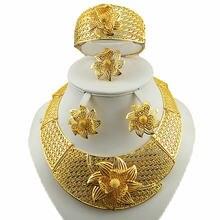 Крупные Женские Ювелирные наборы золотистого цвета ожерелья