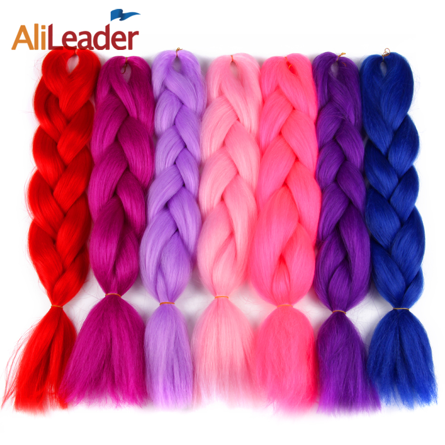 Hair Braids Jumbo Braids Qualified Alileader 24inch Pure Color Heat Resistant Kanekalon Synthetic Jumbo Braiding Hair Crochet Blonde Pink Blue Grey Hair Extensions