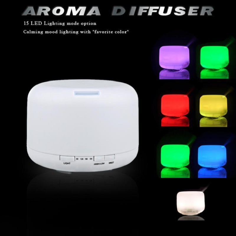 500ml 15 Colors Changable LED Light Essential Oil Aroma Diffuser Ultrasonic Air Humidifier Mist Maker for Home& Bedroom 110-240V 300ml colors changable led light essential oil aroma diffuser ultrasonic air humidifier mist maker for home& bedroom